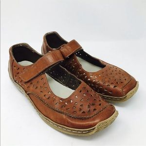 Rieker Brown Perforated Mary Janes Comfort Flat 42